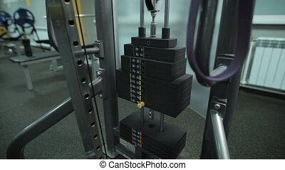 Running standing trainer in the gym - Top view of running...