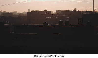 residential area at dusk - Real time footage of a...