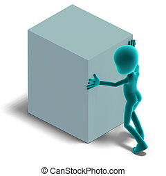 symbolic 3d male toon character push a big box. 3D rendering with clipping path and shadow over white
