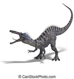 Dinosaur Suchominus 3D rendering with clipping path and...