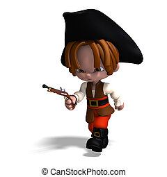 sweet and funny cartoon pirate with hat. 3D rendering with clipping path and shadow over white
