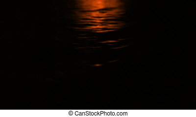 Shimmering Water In The Dark - Water surface shimmers at...