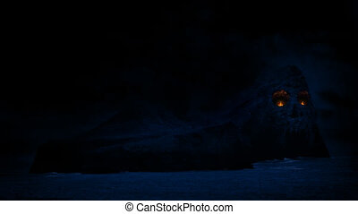Skull Island With Eyes Of Fire - Mysterious rocky island...