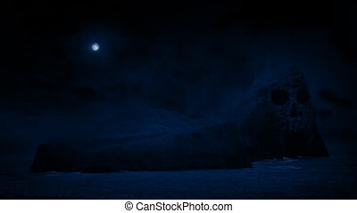 Scary Skull Island With Moon Above - Rocky island out at sea...