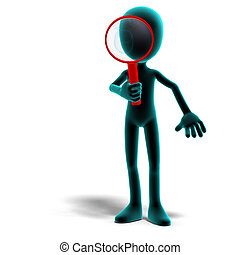 3d male icon toon character with a magnifier. 3D rendering with clipping path and shadow over white