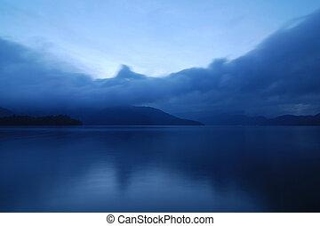 mountain lake - blue twilight photo of mountain lake in...