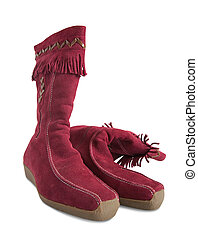 Red  deerskin womanish boots isolated with clipping path
