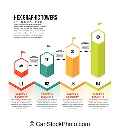 Hex Graphic Towers - Vector illustration of hex graphic...