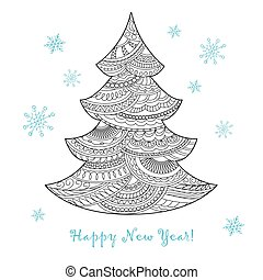 Christmas card with hand drawn decorated fir-tree - Festive...