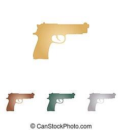 arma de fuego, señal, Ilustración, metal, iconos, en,...
