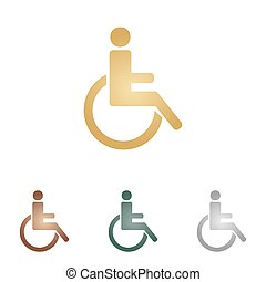 Disabled sign illustration. Metal icons on white backgound.