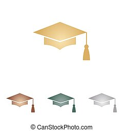 Mortar Board or Graduation Cap, Education symbol. Metal icons on white backgound.
