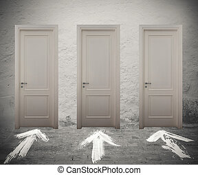 Choose the right door - Closed doors marked by white arrows...