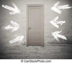 The right door - Closed door marked by white arrows on the...