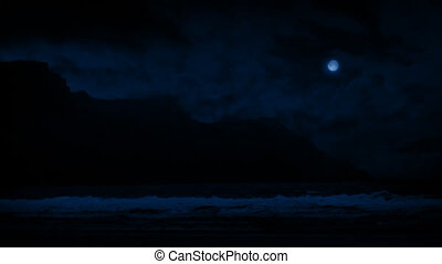 Waves On Shore Near Cliffs At Night - Sea shore with large...