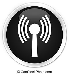 Wlan network icon black glossy round button