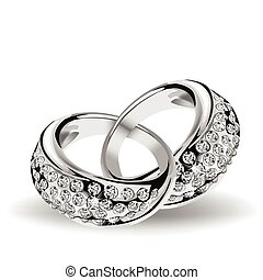 Silver vector wedding rings and diamonds