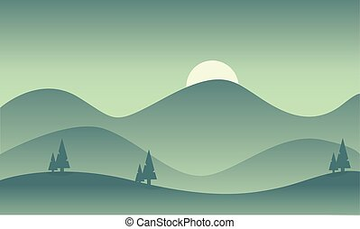 Silhouette of mountain vector flat