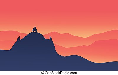 Silhouette of hight hill at sunset
