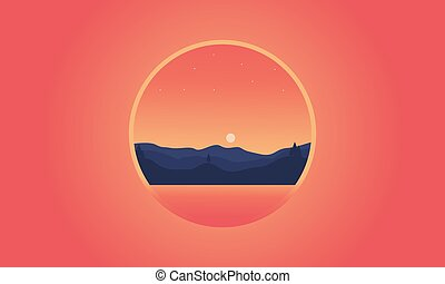 Silhouette of hill icon vector flat