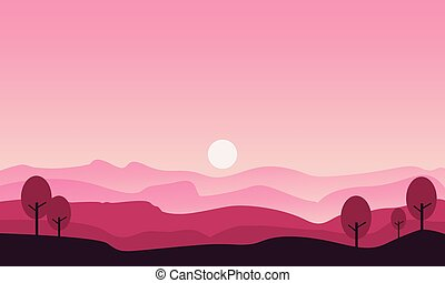 Silhouette of hill and tree scenery