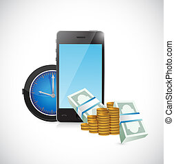 mobile business time concept illustration design over a...