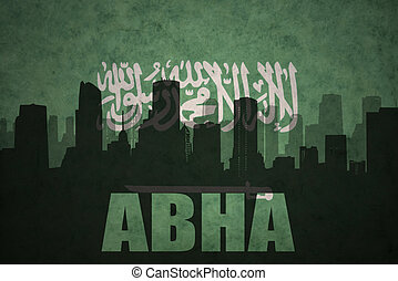 abstract silhouette of the city with text Abha at the...