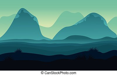 Landscape hight hill of silhouette vector illustration