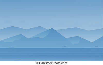 Silhouette of blue mountain landscape
