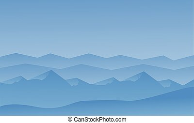 Silhouett of blue hills scenery vector illustration