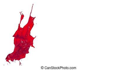 red splash. big spilling in slow motion. syrup