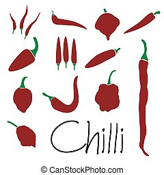 red chilli peppers types of hot chillies simple icons...