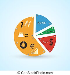 infographics symbols in big colorful circle graph from parts...