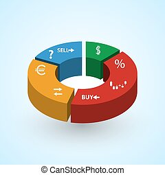 infographics symbols in big colorful 3d circle graph from...