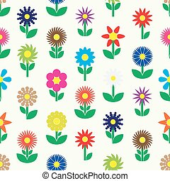 modern colorful simple retro small flowers set of icons seamless pattern eps10