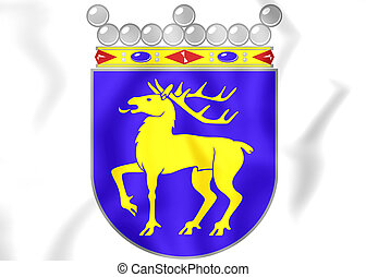 Aland Islands coat of arms. 3D Illustration.