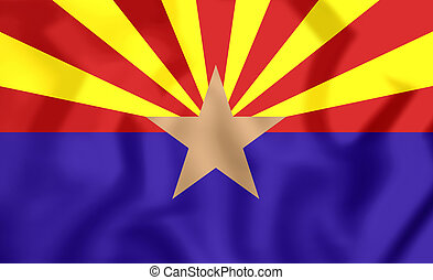 3D Flag of Arizona, USA. 3D Illustration.