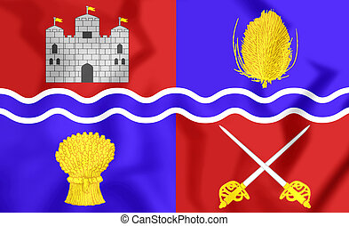3D Flag of Newbury, England. 3D Illustration.