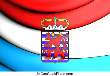 3D Flag of Luxembourg Province, Belgium. 3D Illustration.