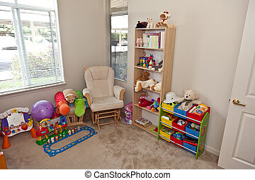 Child\'s bedroom - Baby bedroom with a crib, toys and decor