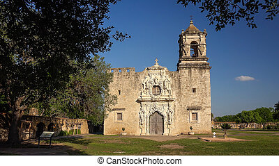 Spanish Mission San Jose in San Antonio, Texas - Entrance to...