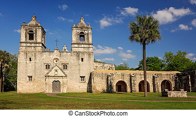 Spanish Mission Concepcion in San Antonio, Texas - Clouds...