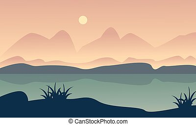 Landscape hill and river of silhouette