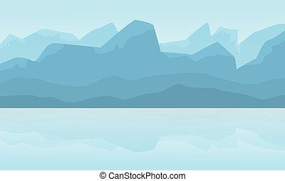Silhouette of mountain landscape at winter