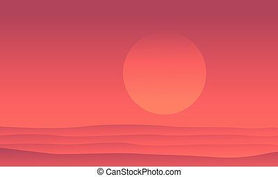 Silhouette of desert at sunrise scenery