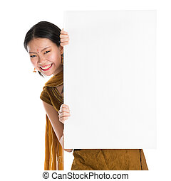 Punjabi woman holding blank white paper card - Portrait of...