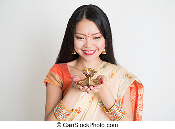 Indian diwali festival - Portrait of young mixed race Indian...