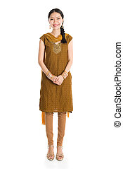 Woman in Punjabi dress. - Portrait of young mixed race...