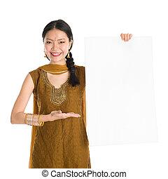 Punjabi female holding blank white paper card - Portrait of...