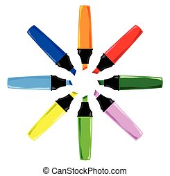 Circle of Highlighter Pens - A collection of 8 different...